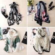 Luxury Scarf For Women Plaid Summer Fashion Silk Long Scarves Shawls Printing Scarfs for Ladies Hijab 2019