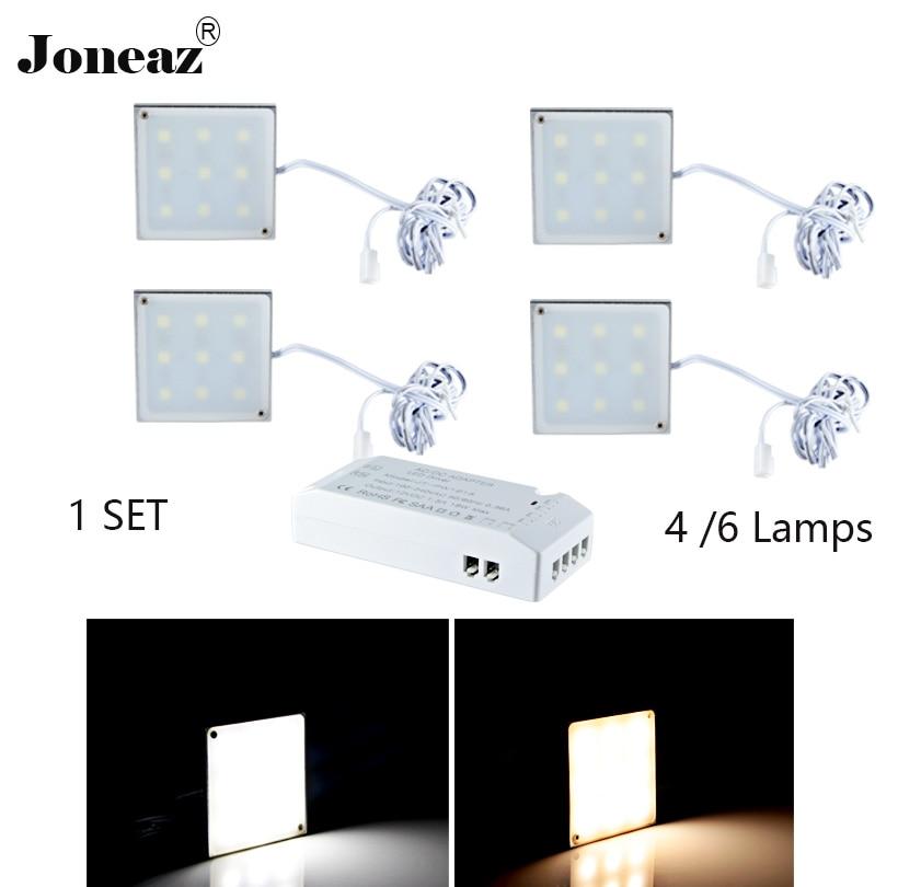 Led cabinet light for kitchen closet wardrobe DC12V square SAA UK EU US plug 2 meter cable 2W 1 set super Joneaz