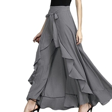 2019 Wrap Skirts Women Casual Fashion Navy Chiffon Tie-Waist Ruffle Wide Leg Loose Pants wide waistband ruffle wide leg pants