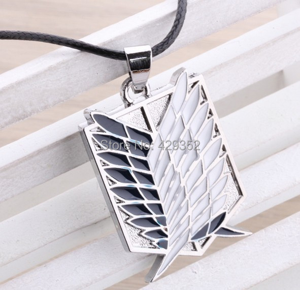 10pcs/lot Attack on Titan Shingeki No Kyojin Cosplay Scouting Recon Corps Necklace Pendant Necklaces For Men Gifts