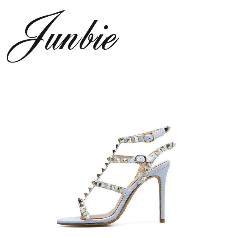 Junbie Sangle Cuir Véritable Ouvert D'été Sandales Femmes Nouveau À En Ouvertes Talons Chaussures Hauts As Sexy Clouté Pic 7rUr4xw
