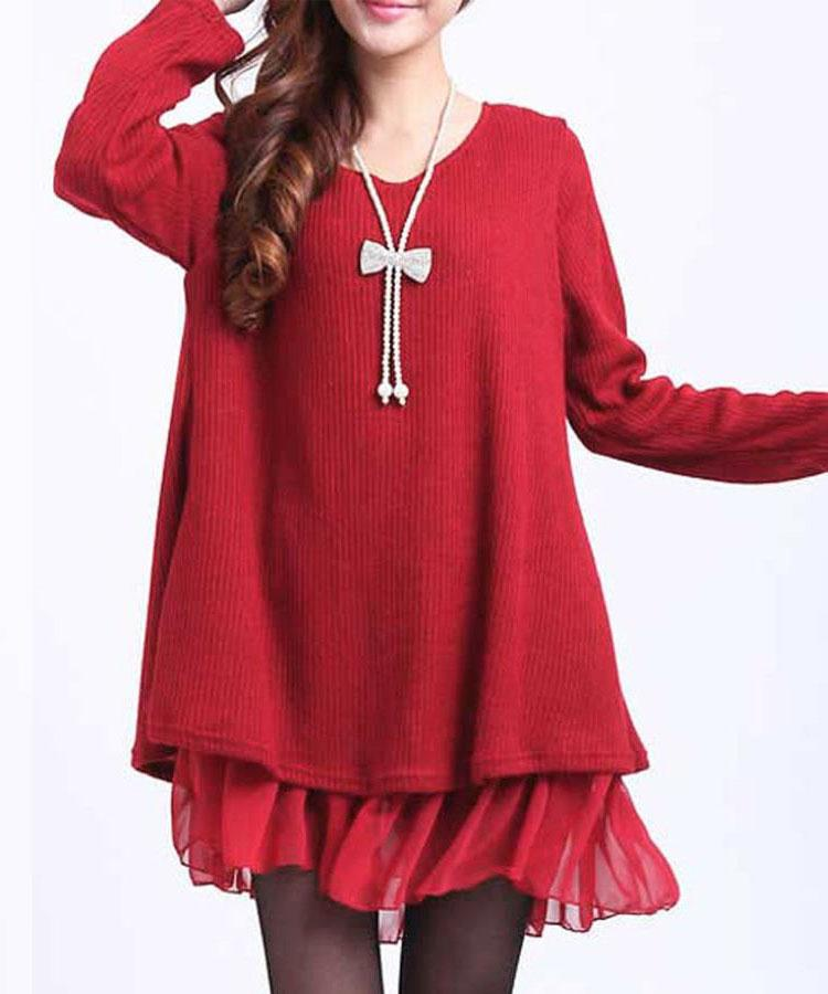 Plus Size Splice Knitted Women Lady Dress O Neck Chiffon Long Sleeve Splicing Autumn Loose Casual Solid Mini Dress Red/Khaki plain loose long sleeve plus size dress
