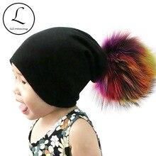 Gzhilovingl 10 месяцев-5 лет шерсть зимние однотонные Цвет Skullies шапочки Meninas Garçons громоздкая Meninas шапочка Цветной Fourrure pom Pom Hat