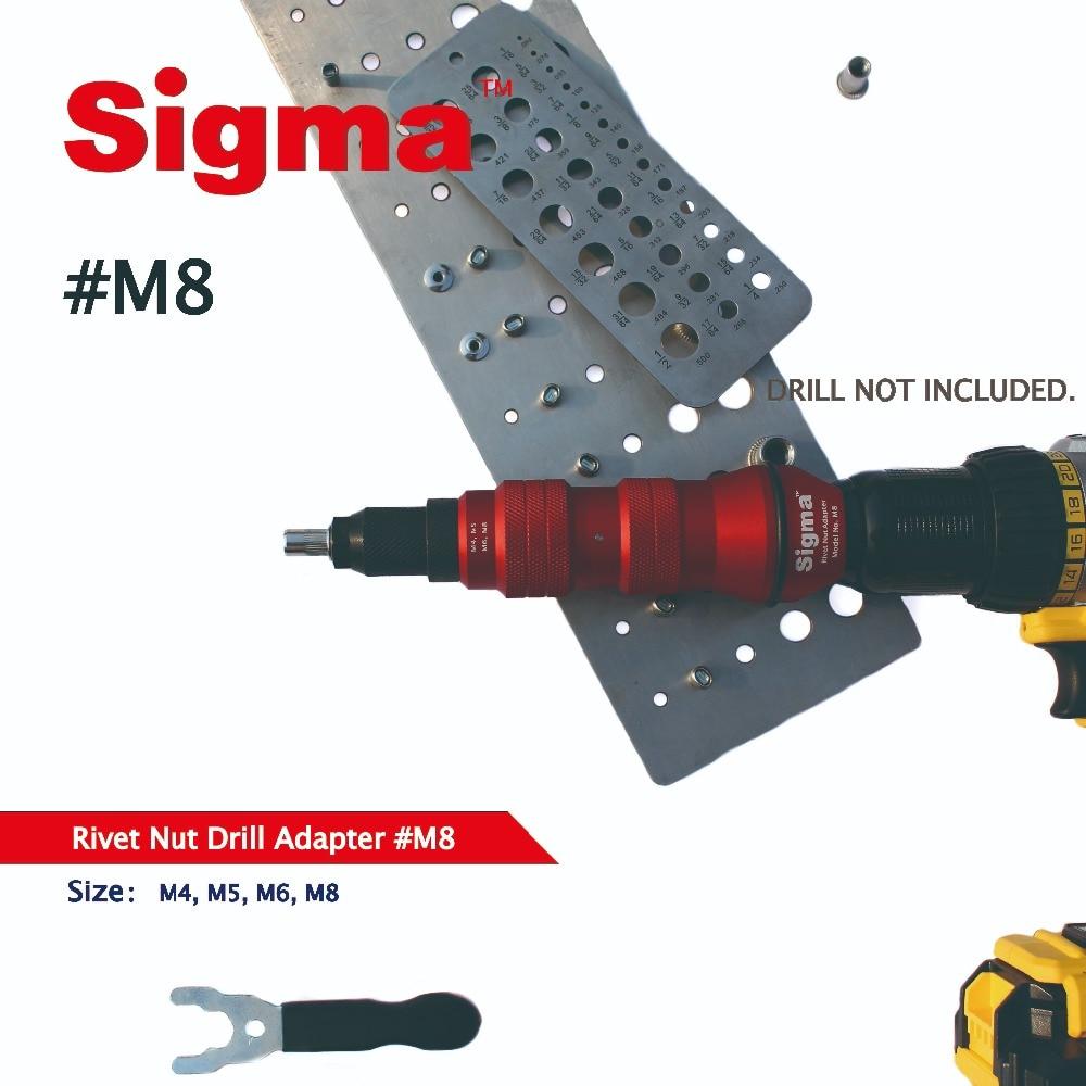 Tools : Sigma  M8 Threaded Rivet Nut Drill Adapter Cordless or Electric power tool accessory alternative air pneumatic rivet nut gun