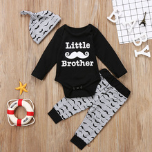 3PCS Set Little Brother Newborn Baby Misai Pakaian Long Sleeve Cotton Romper Tops + Long Pant Hat Set Pakaian Kids Clothing Set