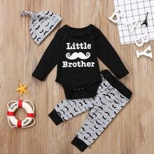 3PCS مجموعة ليتل شقيق الوليد الطفل الشارب ملابس طويلة الأكمام القطن رومبير قمم + طويل بانت قبعة الزي ملابس الاطفال مجموعة