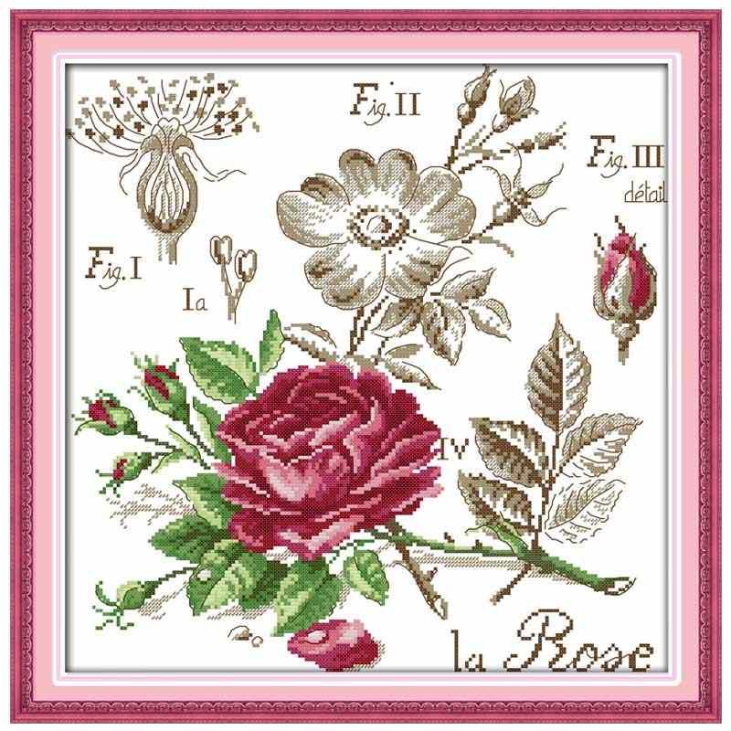 เงาของดอกไม้ Rose Poppy เชอร์รี่ปักครอสติส 11CT 14CT Cross Stitch ชุดข้ามชุดเย็บปักถักร้อย