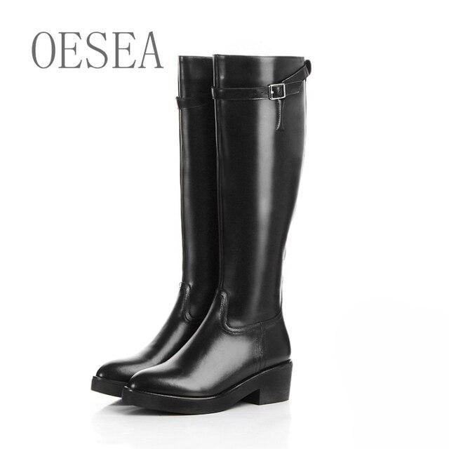 01c33505430 34-39 Negro botas altas 2016 moda hebilla de cinturón de cuero genuino de  alta