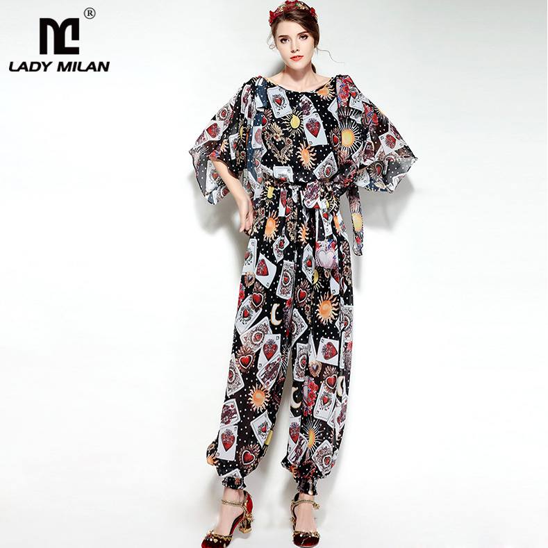 New Arrival Womens O Neck Short Sleeves Printed Elastric Waist High Street Fashion Jumpsuit &Rompers