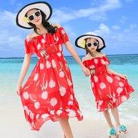 Nowy Lato Czerwona Szyfonowa Suknie Matka Córka Rodzina Mody Kwiat Sukienka Plaża Sukienka Piękny Bal Przebierańców Pasujące Stroje