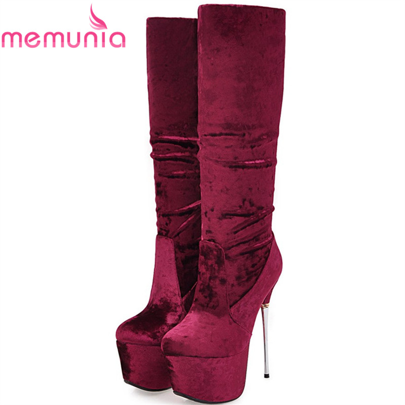 MEMUNIA big size 32-43 fashion women boots slip on sexy platform super high thin heel ladies boots flock knee high boots black