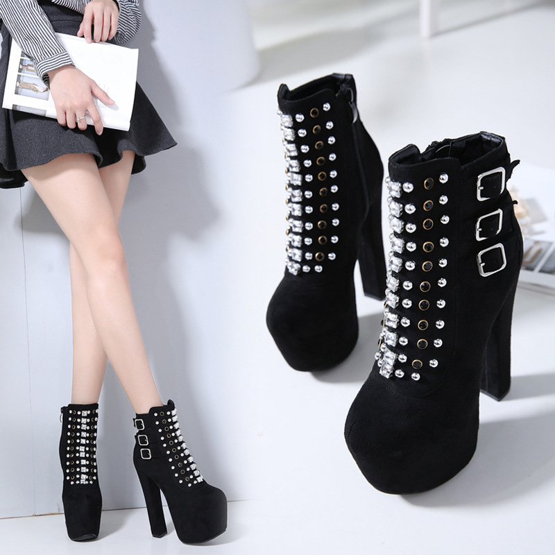 Mode 2019 Noir Femelle Extreme Taille Bottes Cristal Boot Boucle Chaussures  Lady 16 40 Femmes Plate ... af62049f112e