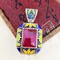 Sea King 925 pure silver silversmith old handmade natural red corundum Necklace Pendant Silver Vintage Cloisonne female