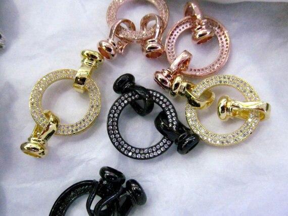 6 pièces 20mm CZ Micro Pave diamant pavé ressort fermoir résultats de bijoux Micro Pave bijoux fermoir collier fermoir pull fermoir - 2