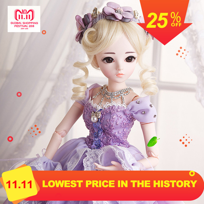 1/3 BJD Doll Princess Girl Reborn Doll With Maxi Long Party Dress Wig Shoes Makeup 18 Joints Moveable Body Doll Christmas Gift adiors long middle parting shaggy wavy color mix synthetic party wig
