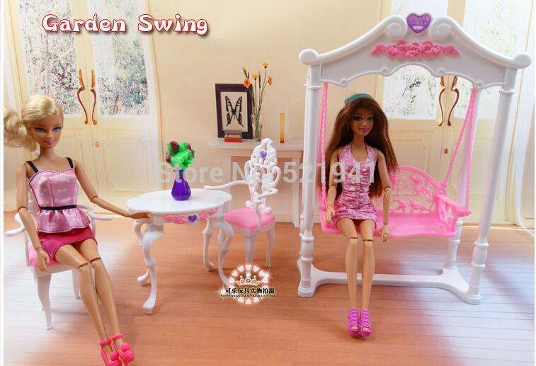 Free Transport Lady birthday present plastic Play Set Backyard furnishings, swing Present Set doll furnishings equipment for barbie doll