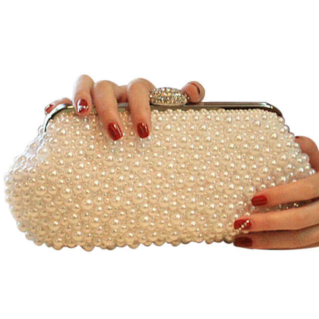 NEW Shell full beaded women evening bags pearl clutch women bag vintage handmade small purse