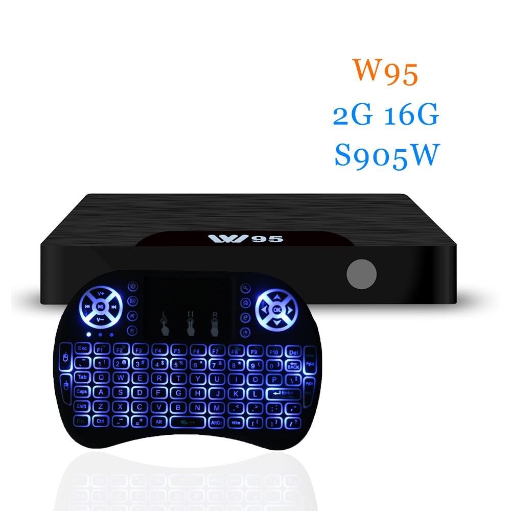 Newest W95 android tv box 1G+8G/2G+8G/2G+16G S905W Quad-Core 7.1 OS w95 tv box 4k 2.4G Wifi HD Media Player mi...