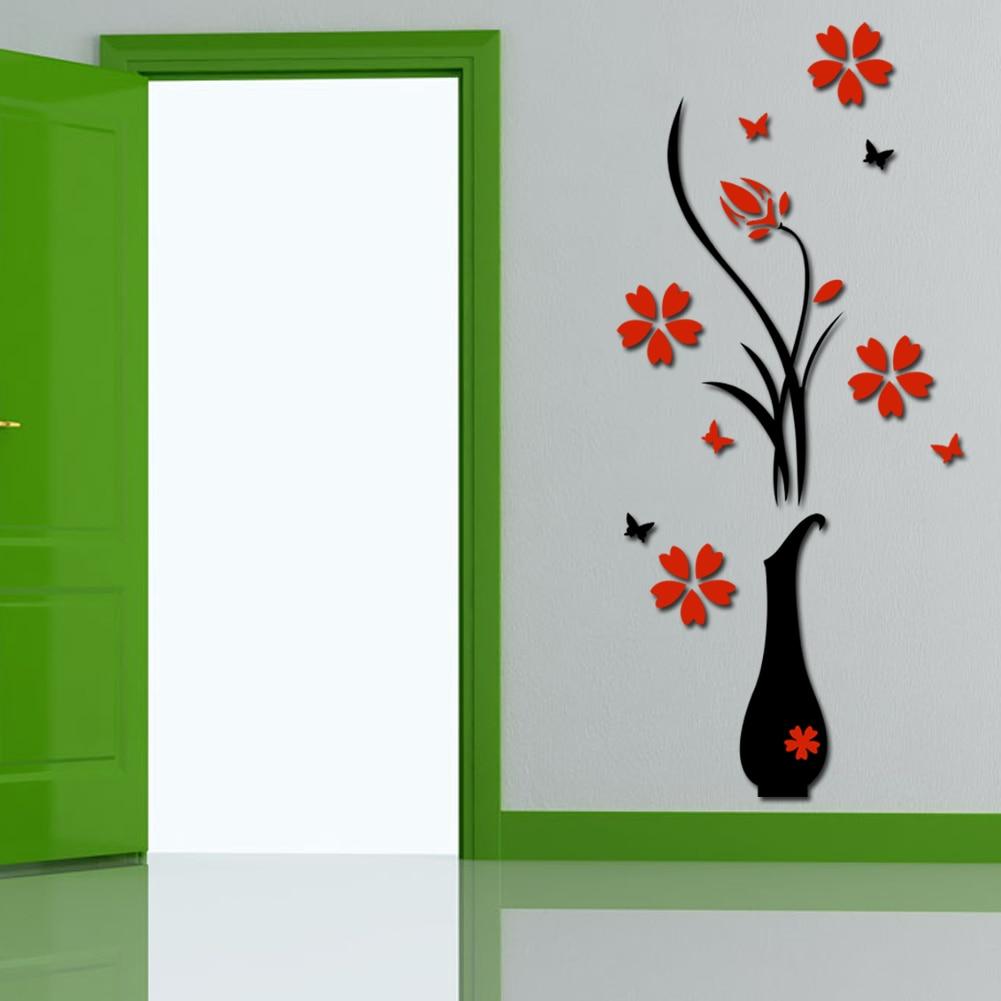 Fresh Flower Wall Stickers Acrylic 3D Plum Flower Vase Wall Stickers Home Decor Wall Decal Red Floral Patterns Wall Sticker