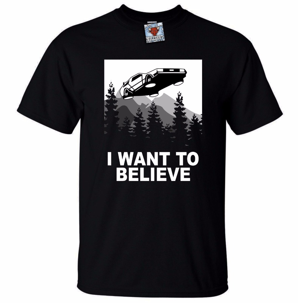Mens I Want To Believe Future T-Shirt Funny T-Shirt Sci Fi Parody Time Travel Short Sleeve T-Shirt