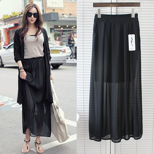 5a1bf0127 Chiffon Maxi Skirt Korean Fashion Long Summer Skirts Womens Black Blue Skirt  Faldas Largas
