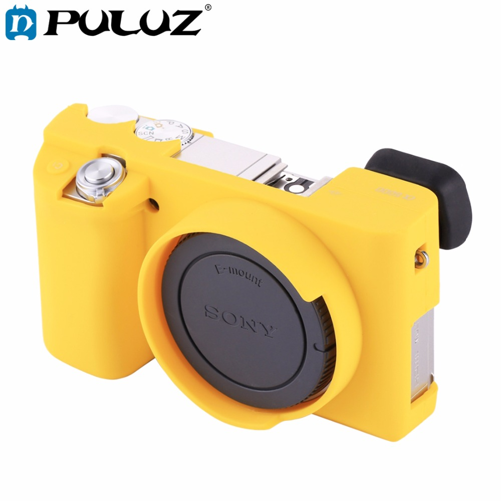 PULUZ Cover Case for <font><b>Sony</b></font> ILCE-<font><b>6000</b></font> Soft Silicone Rubber Camera Protective Body Cover Case Skin Yellow Camera Bag image