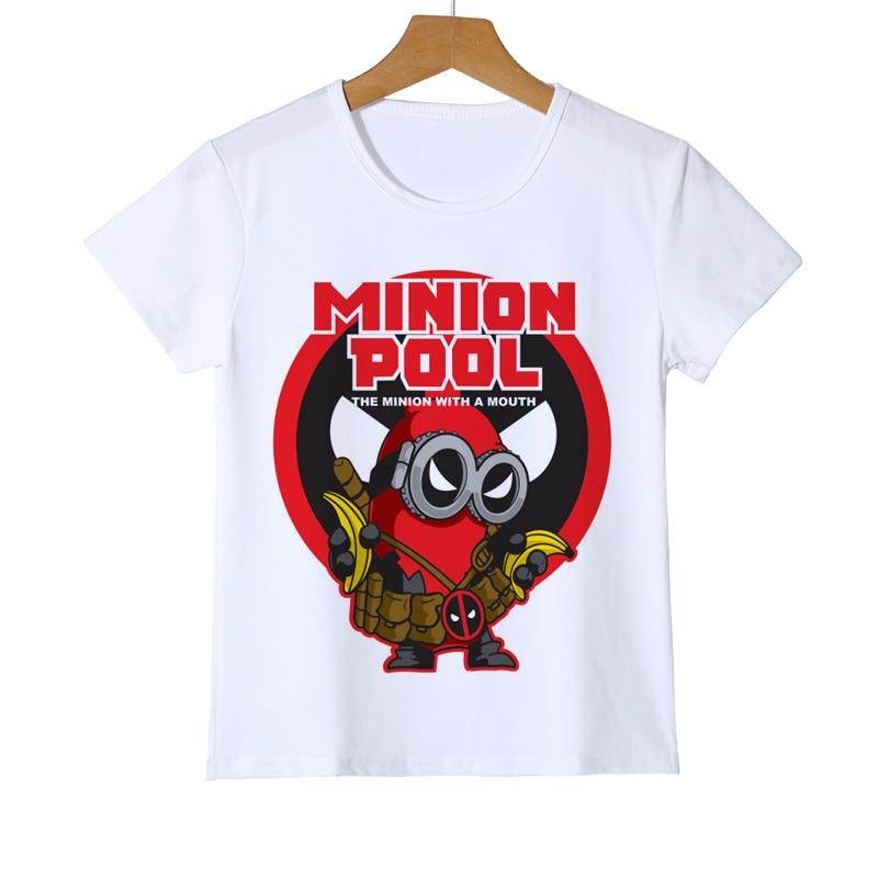 e48d0ae0b0117 Nouveau été deadpool Minions dessin animé T-shirt enfant drôle 3D dessin  animé T-