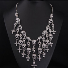 Exaggerated Fashion Style Tassel Black silver Plated Big Skeleton Skull Cross Jewelry Crystal Women Necklaces Pendants