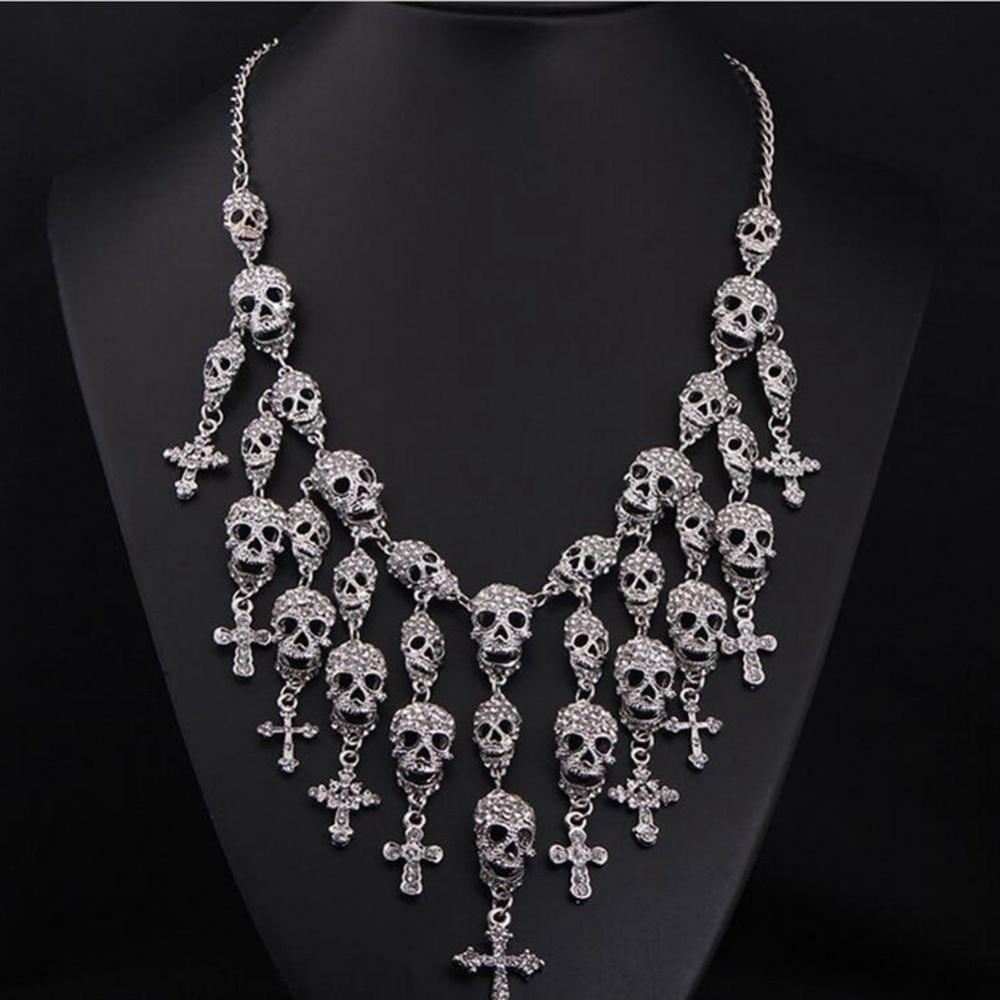 Exaggerated Fashion Style Tassel Black silver Plated Big Skeleton Skull Cross font b Jewelry b font