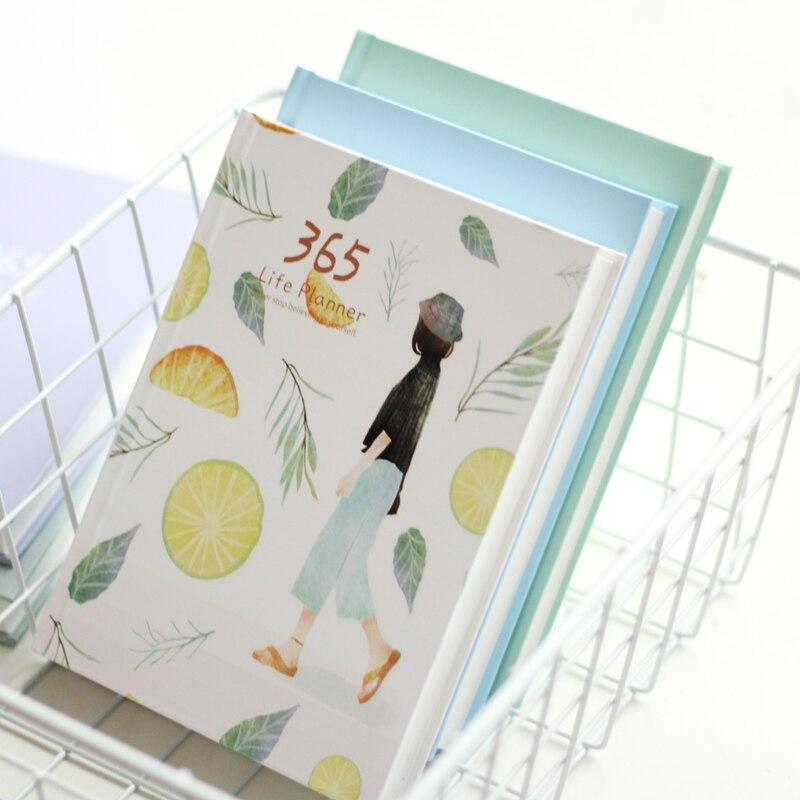365 días diario personal planificador Tapa dura cuaderno diario 2017 Oficina horario semanal lindo coreano papelería libretas y cuadernos