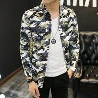 2017 Spring Plus Size Shirt Men Korean Slim Fit Men Long Sleeve Casual Shirts Camflouage Print