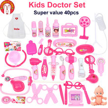 23/40 pcs Doctor Pretend Play Toys Kids Role-Playing Games Medical Suitcase Doctor's Set Nurse Gift Educational Game Girls(China)