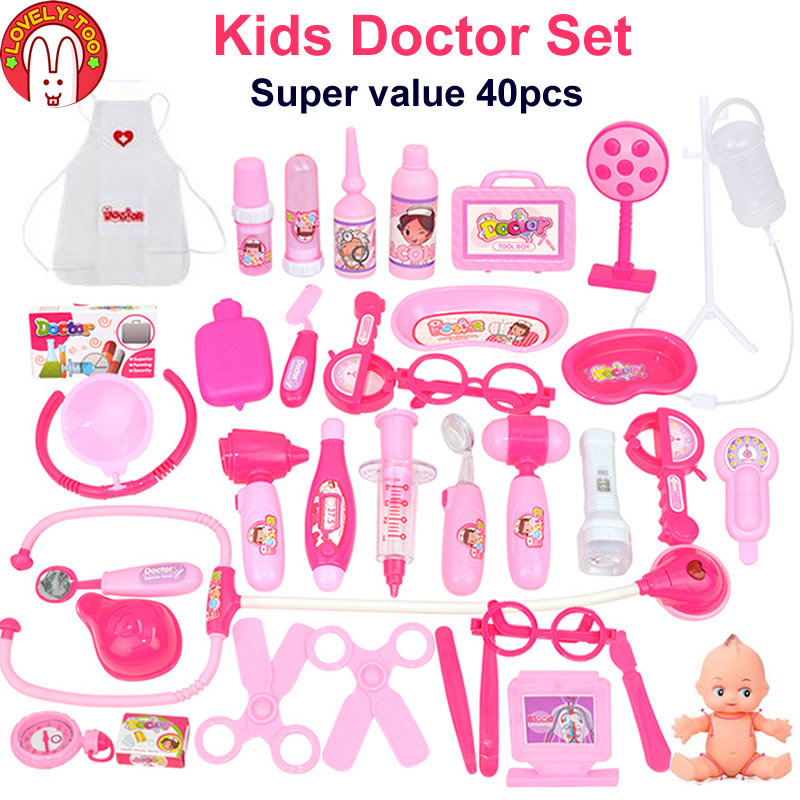 23/40 pcs Doctor Pretend Play Toys Kids Role-Playing Games Medical Suitcase Doctor's Set Nurse Gift Educational Game Girls