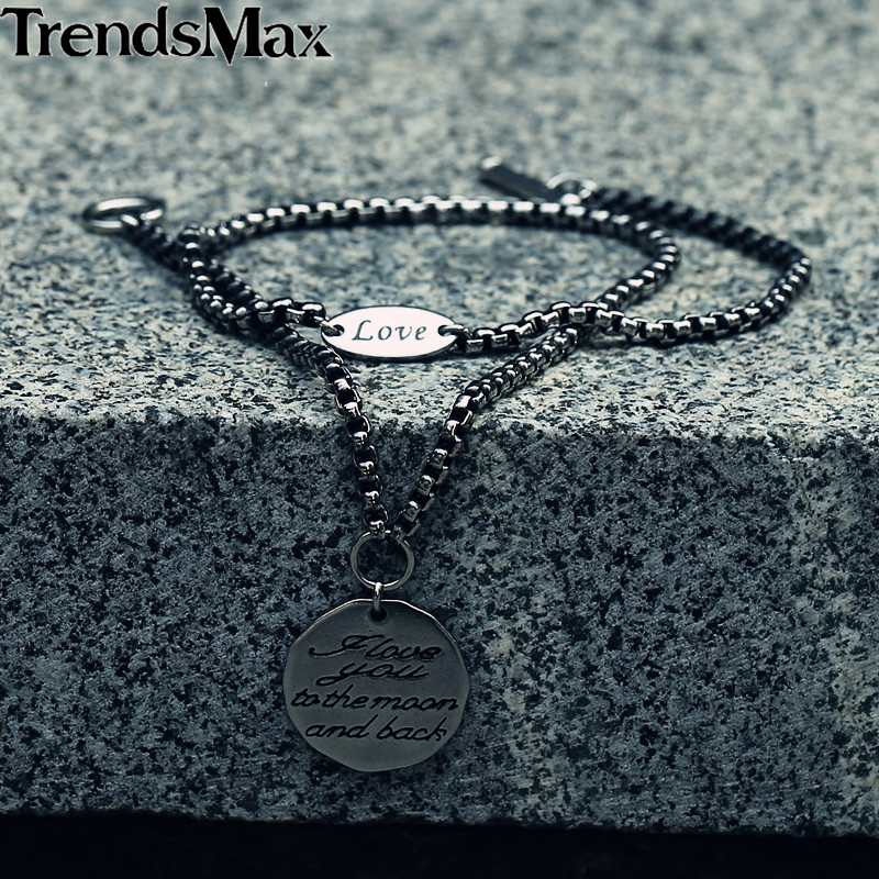 Trendsmax Love Tag Charm Bracelet Men Stainless Steel Silver Color Box Chain Fashion Jewelry For Men Boys 3mm KDB19