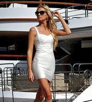 2016 New Arrivals Women Summer White Ladies Sexy Spaghetti Strap HL Bodycon Vestidos Bandage Dresses Wholesale