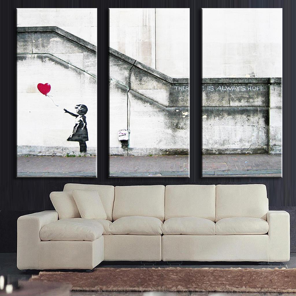 Graffiti art home decor - 3 Pcs Set Framed Banksy Art There Is Always Hope Canvas Prints Graffiti Girls With
