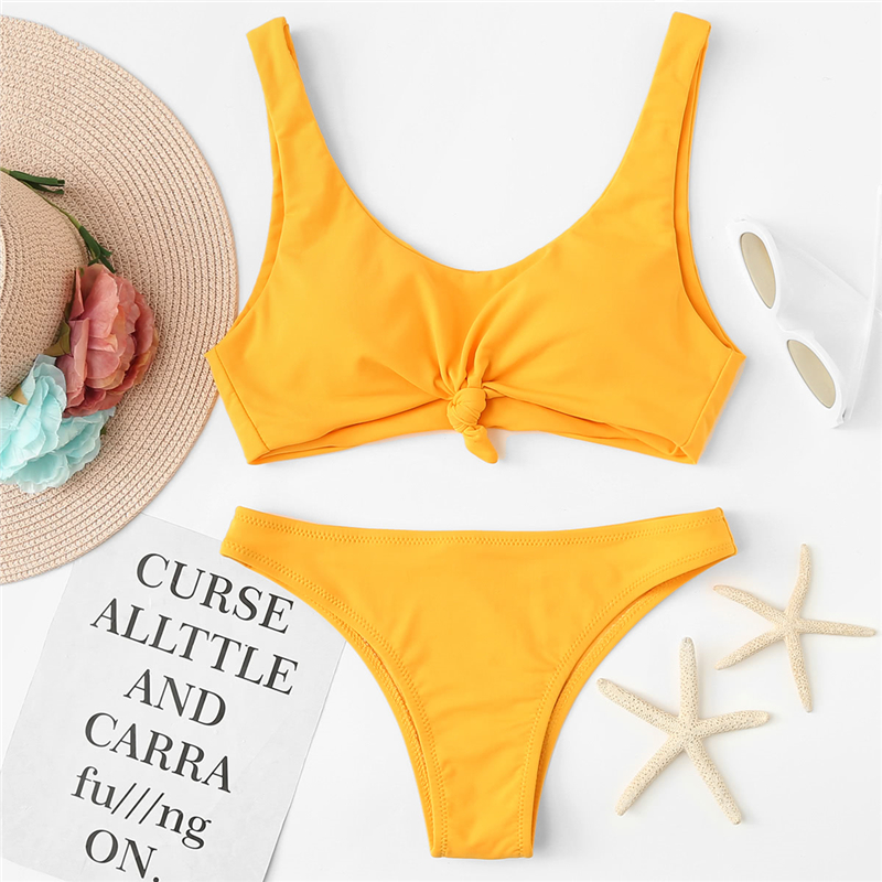 341a27c5f9 Romwe Sport Solid Yellow Cute Knot Front Polyamide Women Bikini Set 2018  Summer Swimming Pool Beach Wear Padded Bra Swimwear