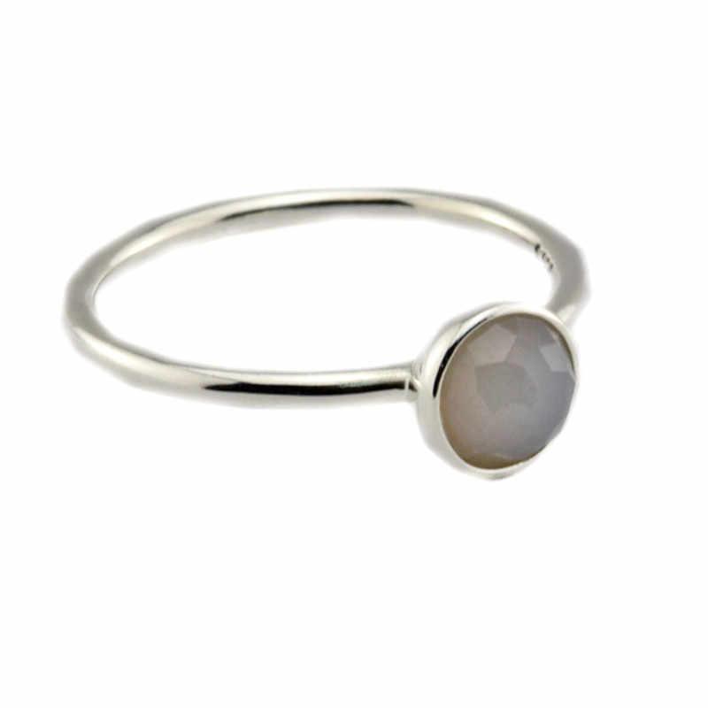 แหวนมิถุนายนหยดแหวน Grey Moonstone คริสตัล 925 เงินสเตอร์ลิงเครื่องประดับแหวน anillos bague pierscionki