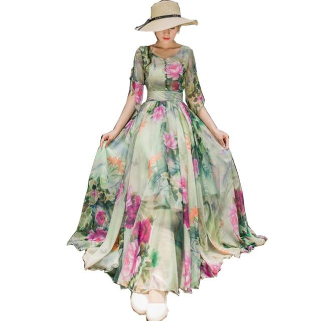 2018 Summer Floral Long Chiffon Maxi Dress Large Plus Size Celebrity   Graduation  Ceremony   Dinner Dress Beach Dresses YM427 ef8a119044c9