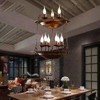Лофт Стиль подвесной светильник творческий 2 слоя Винтаж лампа из металла Утюг промышленных Стиль кулон Освещение кафе свечи подвесной све