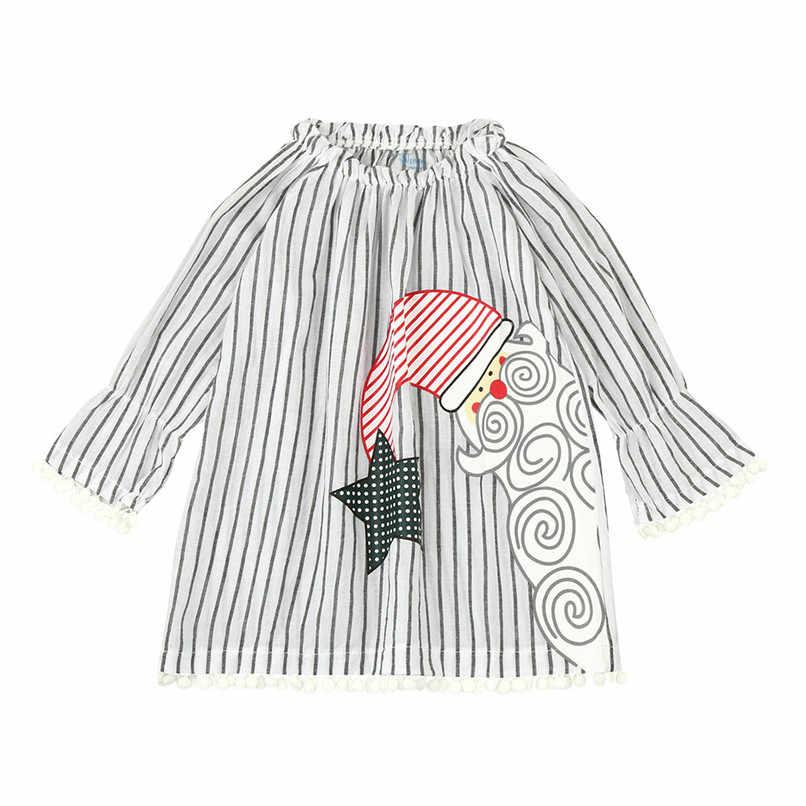 Roupa do natal Roupas Meninas Vestido Da Menina Da Criança Do Bebê Crianças Meninas de Santa Impresso Manga Comprida Listrada Vestido de Princesa # BL0