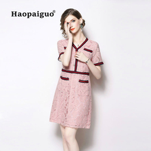 Plus Size Pink Summer Mini Dress Women V-neck Short Sleeve Bodycon Dress Women with Button Casual Work Office Wrap Dress Ladies цены