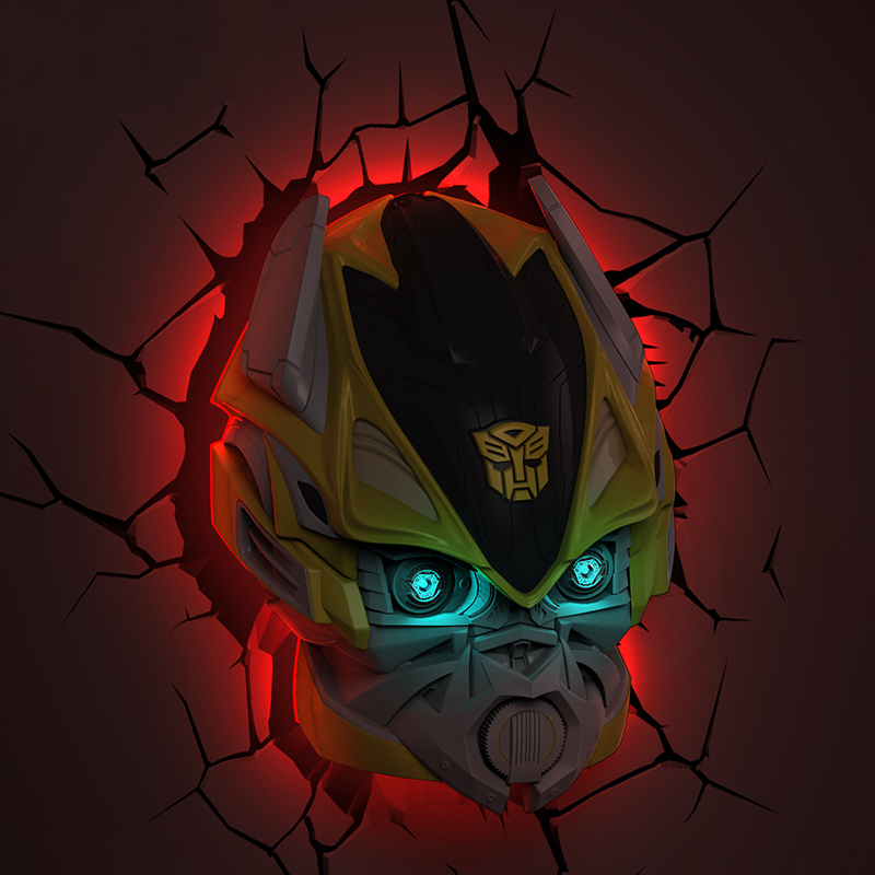 Creative Autobots LED 3D Nightlight Bumblebee for Kid Boy Gift Wall Decoration Holiday Party Lighting IY303167-3 creative led 3d nightlight hockey for kid boy gift wall decoration holiday party hockey lighting iy303166 5