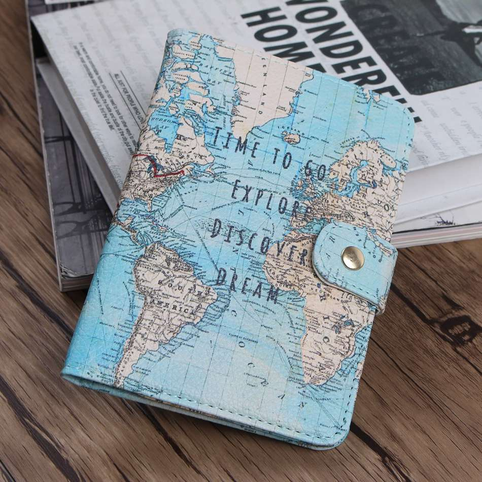Flamingo Map Passport Covers Travel Accessories Creative PU Leather ID Bank Card Bag Men Women Passport Business Holder 14*9.6cm creative cartoon flamingo passport holders covers travel accessories pu leather id bank card bag women passport business case