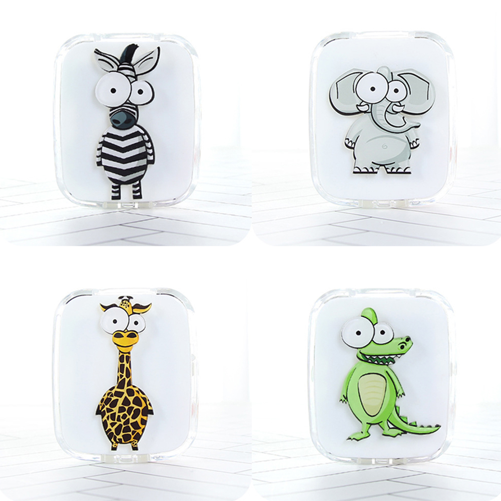 Female Cute Contact Lens Case Cartoon Animal With Mirror Eye Care Kit Contact Lenses Box