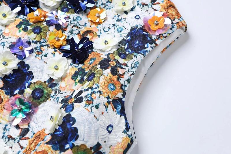O cou Femmes Qualité Appliques Floral Arrivée Du Mini Dessus Perles Spring Imprimé Récent Haute Robe Casual Réservoir 2018 Élégant Genou AwXY1qqp