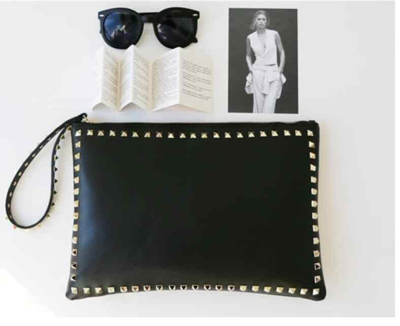 Anawishare dia das mulheres garras couro rebite bolsas senhoras preto envelope festa à noite saco de alta qualidade bolsas femininas