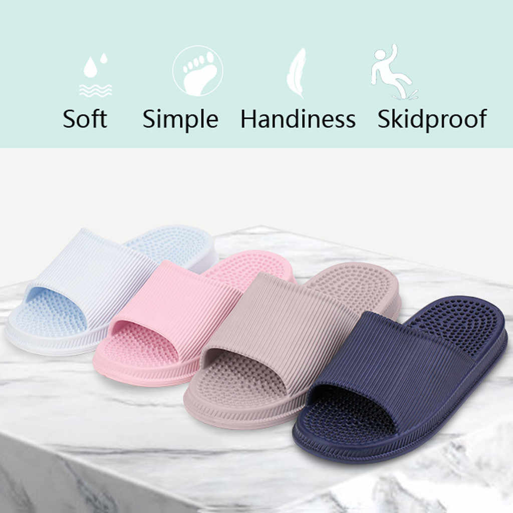 Zapatos de la familia sandalias de ducha zapatillas antideslizante para mujer zapatos para el hogar de color sólido piso F antideslizante zapatillas de baño gota