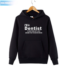 KOLVONANIG 2019 Winter Funny IM A DENTIST Profession Letter Printed Hoodies Mens Sweatshirts With Hat Tracksuit For Men Hoody