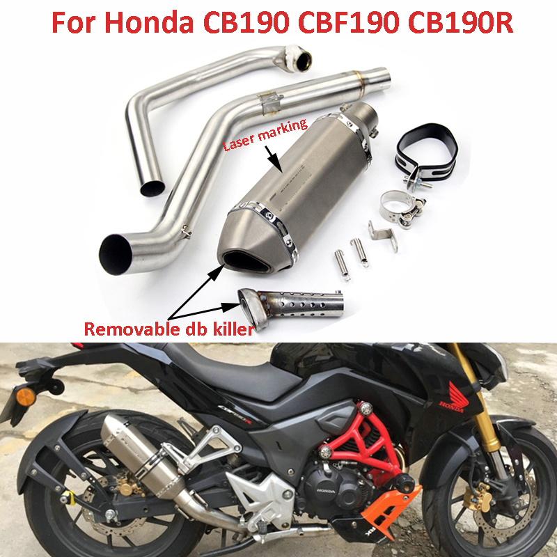 Motorcycle Exhaust System Slip on Front Connecting Link Pipe Escape with db Killer Muffler for Honda CB190 CBF190 CB190R